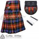 "32"" LGBTQ Pride Tartan Kilt Scottish 8 Yard Detachable Pockets Kilt With Free Matching Sporran kilt"