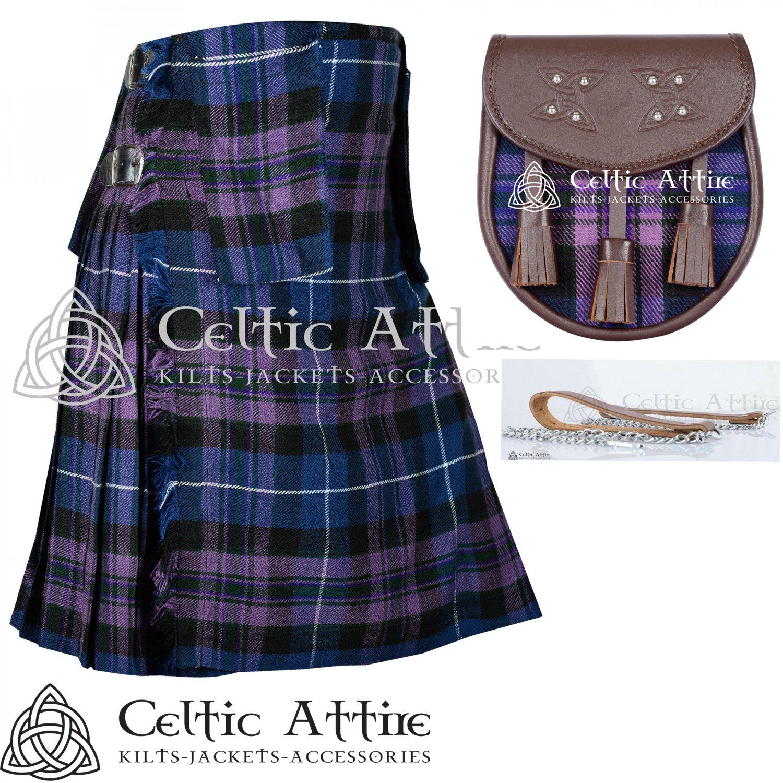 "44"" Pride of Scotland Tartan Kilt Scottish 8 Yard Detachable Pockets Kilt  Matching Sporran kilt"