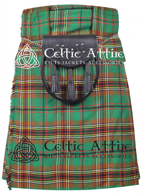 """34"""" Tara Murphy Tartan Kilt Scottish 8 Yard Detachable Pockets Kilt  Matching Sporran kilt"""