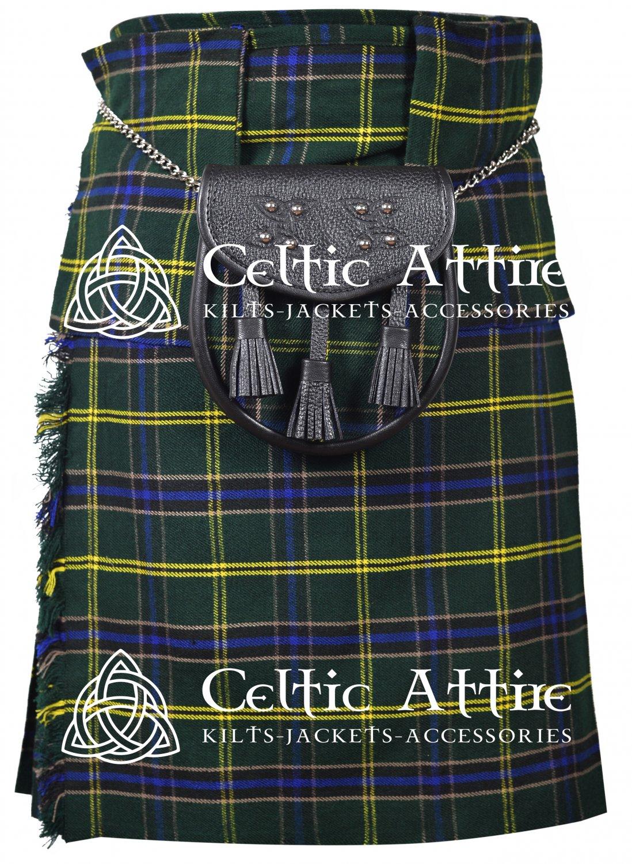"""34"""" US Army Tartan Kilt Scottish 8 Yard Detachable Pockets Kilt  Matching Sporran kilt"""
