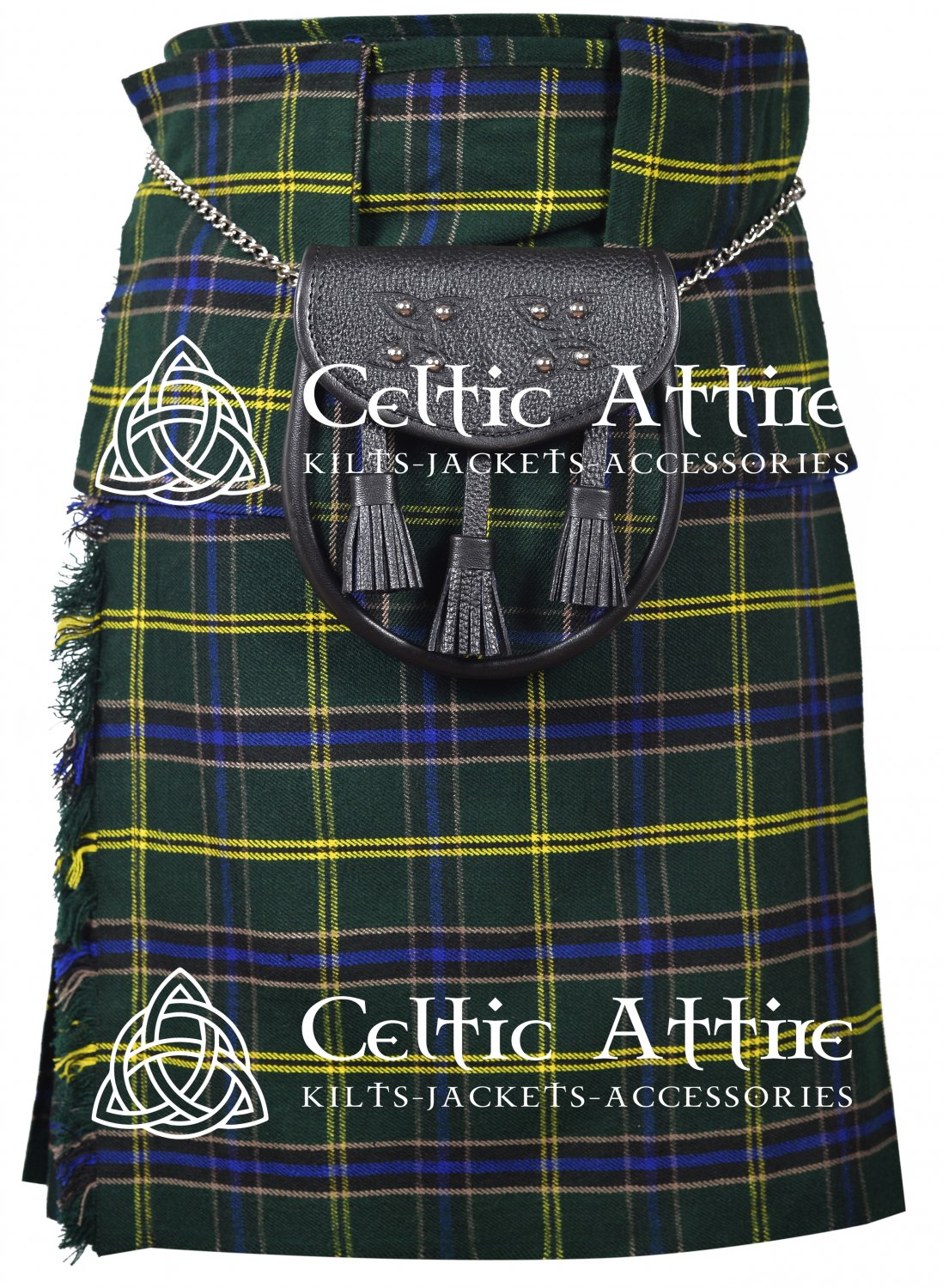 "48"" US Army Tartan Kilt Scottish 8 Yard Detachable Pockets Kilt  Matching Sporran kilt"