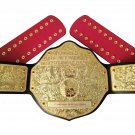 Fashion Big Gold Heavyweight Championship Title Belt/wrestling Belt Black Red Straps