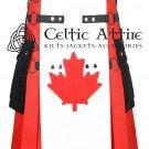 Custom Made Scottish KILT Hybrid Cotton Cargo Pockets Fashion Kilt Canada Pride Kilt