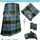 Men's Scottish 8 Yard ANDERSON TARTAN KILT Package - Fly Plaid - Pin - Glengarry - Flashes - Size 34