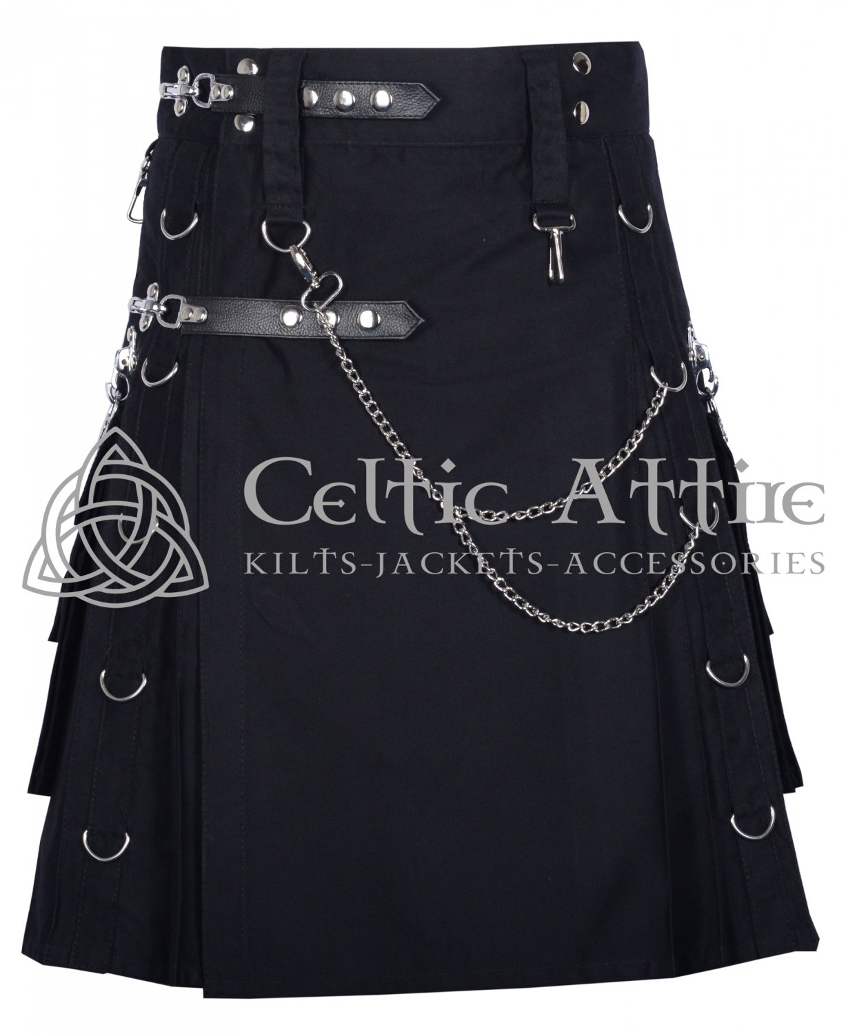 Black Cotton Kilt Gothic Throng With Silver Accessories