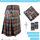 Irn Bru 16 Oz Tartan 8 Yard Kilt with Accessories Fly Plaid Flashes Brooch Kilt Pin