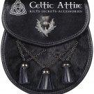 Scottish Kilt SPORRAN Black Leather - Thistle Emblem - Cross Antique Tassels