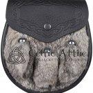 Scottish Black Leather SPORRAN Brown Rabbit Fur With Free Chain Belt
