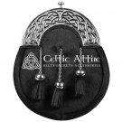 Scottish KILT SPORRAN Full Dress Silver Cantle and Bovine Fur Free Chain Belt