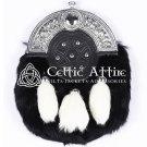 Scottish KILT SPORRAN Full Dress Silver Cantle and Rabbit Fur Free Chain Belt