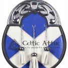 Scottish Leather KILT SPORRAN and Chain - Silver Cantle Full Dress Sporran