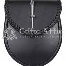 Black Leather Scottish KILT SPORRAN - Hand Engraved Simple and Elegant Design