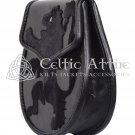 Black Leather Scottish Day Sporran KILT SPORRAN - Rampant Lion Pattern