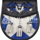 Scottish Leather KILT SPORRAN Bag Saltire Flag Design With Free Chain Belt