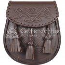Brown Leather Kilt Sporran Celtic Embossed