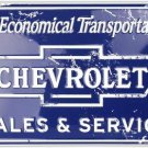 Chevrolet Sales And Service Embossed Metal Sign 12x18 Round