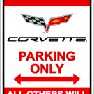 Chevrolet Corvette Reserved Parking Metal Sign 8x12