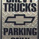 Chevy Trucks Parking Embossed Metal Sign 12x18