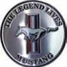 """Ford Mustang The Legend Lives Embossed Metal Sign 12"""" Round"""
