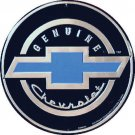 """Chevrolet Chevrolet Bow Tie Embossed Metal Sign 12"""" Round"""