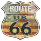 Route 66 Shield Red White And Blue Embossed Metal Sign 12x12