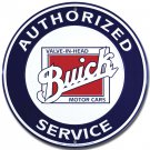 """Buick Authorized Service Embossed Metal Sign 12"""" Round"""