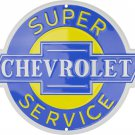 "Super Chevrolet Service Embossed Metal Sign 12"" Round"