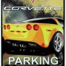 Chevrolet Corvette Parking Embossed Metal Sign 12x18