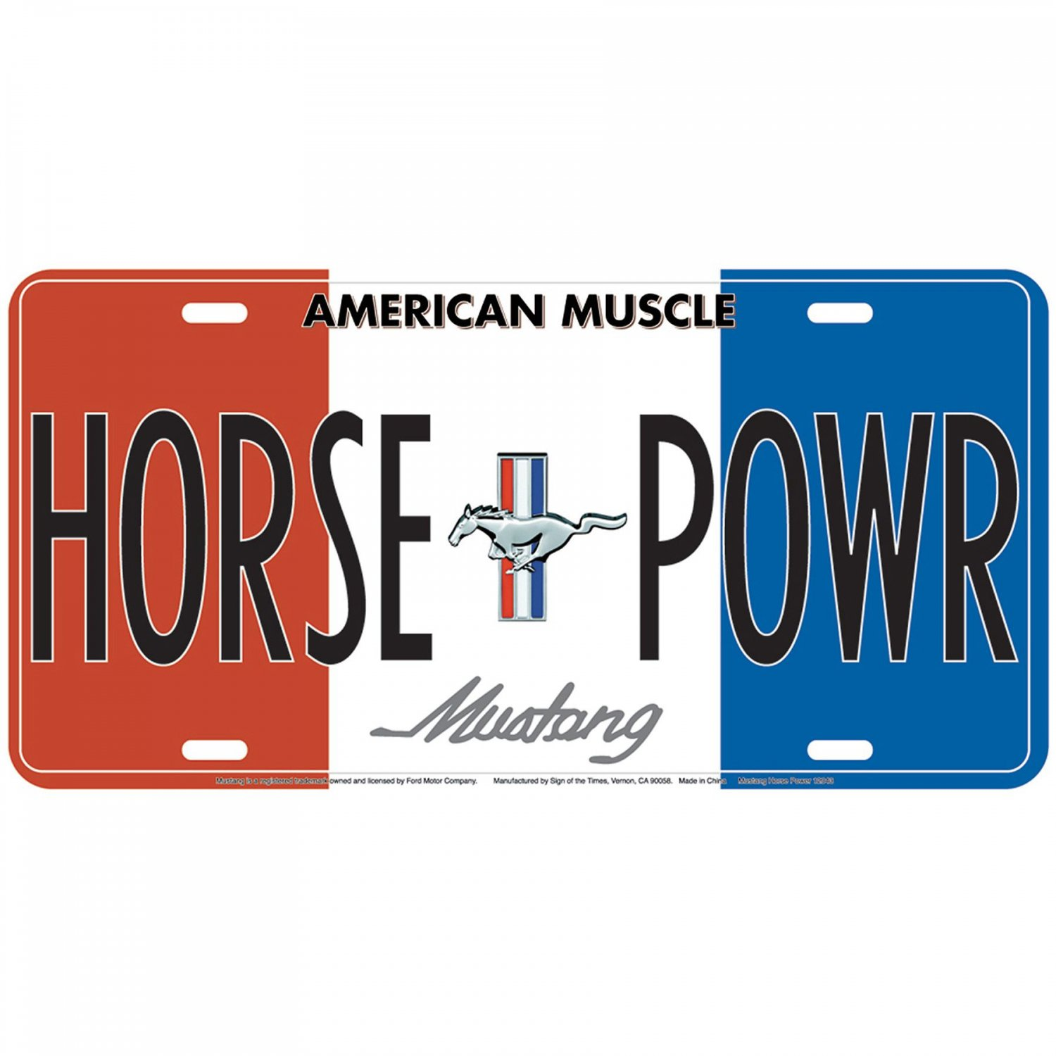 Ford Mustang Horse Power Metal License Plate