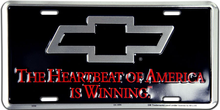 Chevrolet The Heartbeat Of America Is Winning Metal License Plate