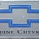 Genuine Chevrolet Bow Tie Silver and Blue  Metal License Plate