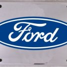 Ford Silver and Blue Logo   Metal License Plate