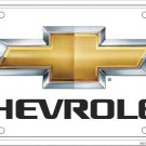 Chevrolet With Bow Tie Logo White and Gold   Metal License Plate