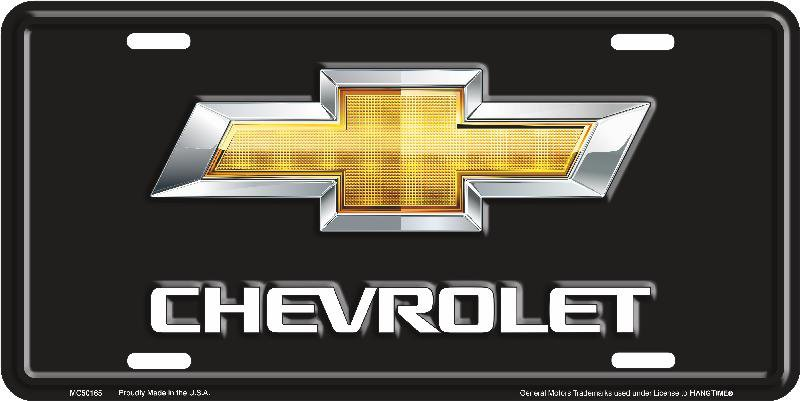 Chevrolet Gold On Black Bow Tie License Plate