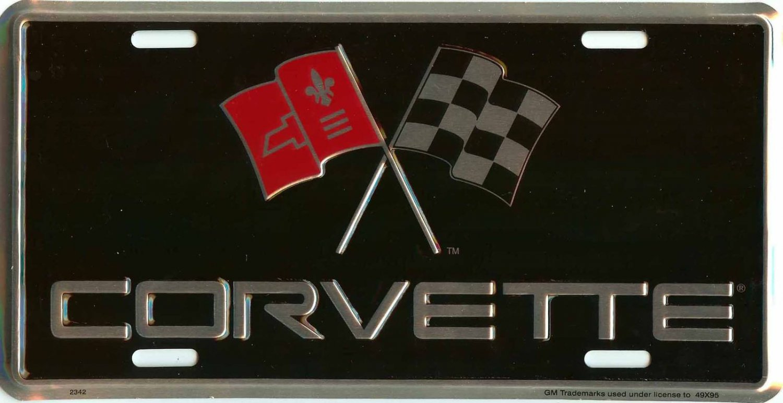 Chevrolet Corvette Racing Flags License Plate