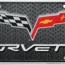 Chevrolet Corvette Racing Flag Embossed License Plate
