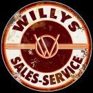 Willys Sales and Service Logo Garage Mirror Sign 14x14