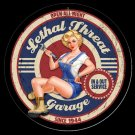 Lethal Threat Mechanic Babe Pinup Garage Mirror Sign 14x14