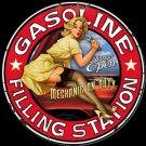 Gasoline Filling Station Pinup Babe Garage Mirror Sign 14x14