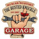 Busted Knuckle Garage Mirror Sign 14x14