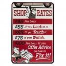 Shop Rates Mirror Sign 14x14