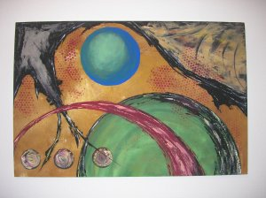 Phet Cash Acrylic Painting 24 x 36 - Original Abstract Art