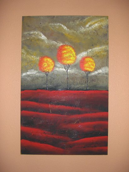 Duane Cash Textured Acrylic Painting 30 x 48 - Original Trees Art