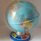 "Vintage Ohio Art Lithographed Tin Globe 8"" Landmarks Tin Base 1980"