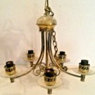 Vintage Traditional Chandelier Brass & Glass Bobeches & Accent Pieces 5 Arm