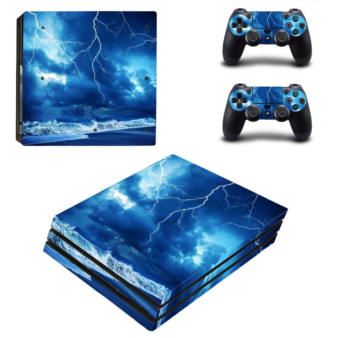 Thunder lightings decal skin for PS4 Pro Console & Controllers