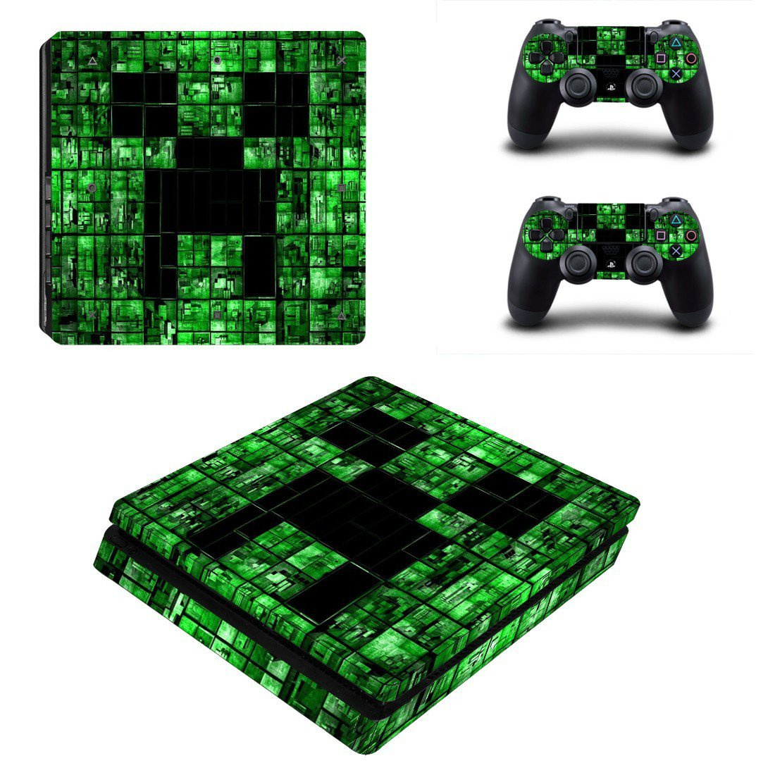 Minecraft decal skin for PS4 Slim Console & Controllers