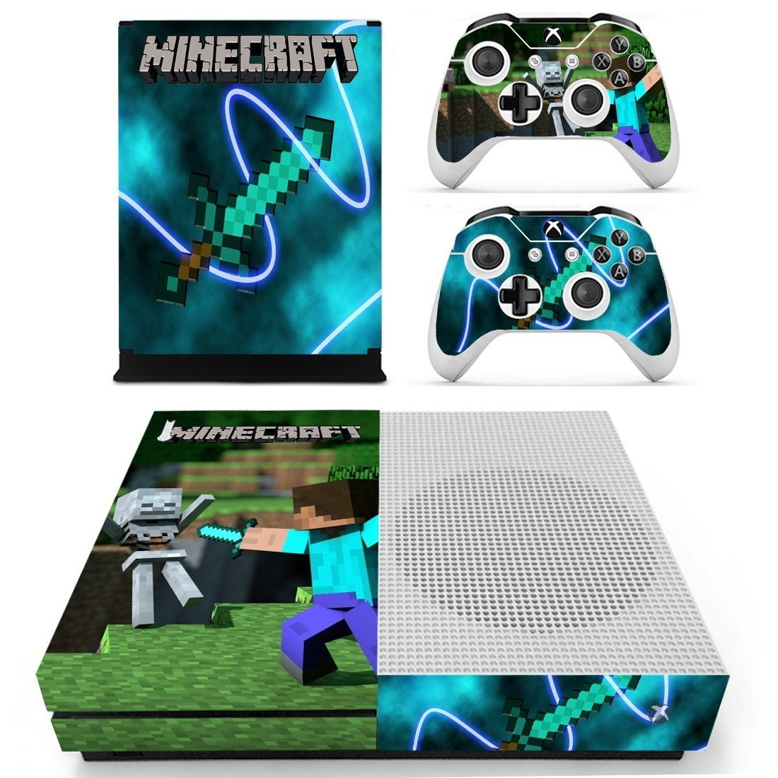 Minecraft decal skin for Xbox one S Console & Controllers