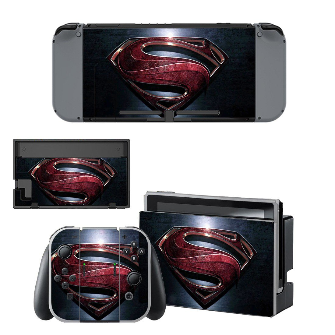 Superman decal skin for Nintendo Switch Console & Controllers