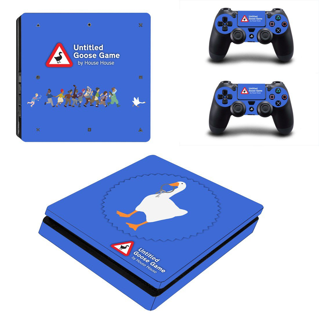 Untitled Goose Game decal skin for PS4 Slim Console & Controllers